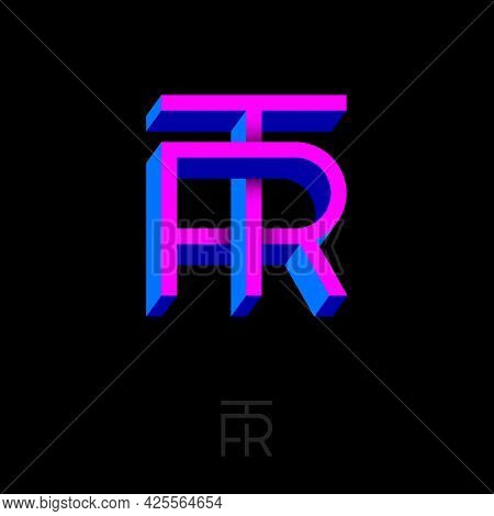 T And R Letters. Monogram Consist Of Volumetric Letters, Crossed, Impossible Figure. Monogram For Bu