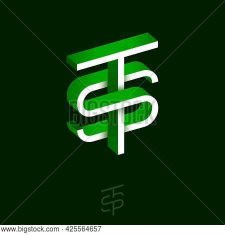T And S Letters. Monogram Consist Of Volumetric Letters, Crossed, Impossible Figure. Monogram For Bu