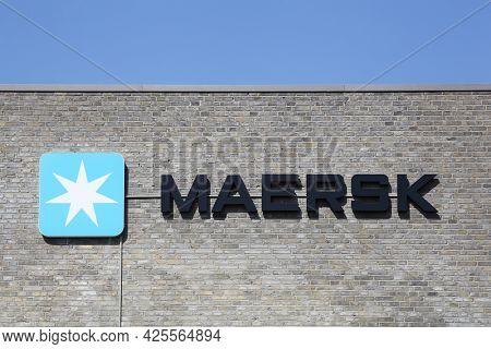 Tilst, Denmark - April 18, 2021: Maersk Logo On A Building. Maersk Company Based In Copenhagen, Denm