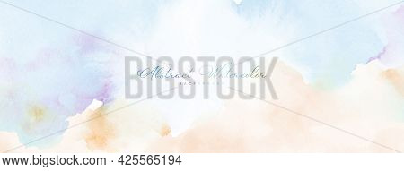 Abstract Watercolor Hand-painted For Background. Pastel Watercolor Stains Vector Texture Is Ideal Fo