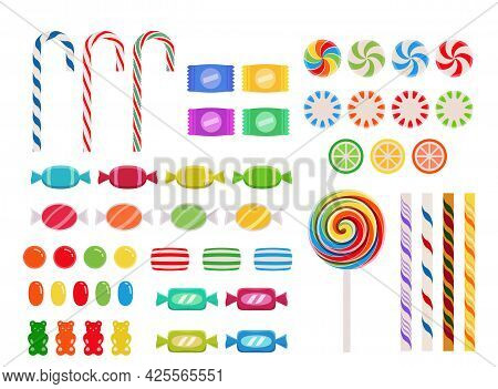 Candy Collection In Flat Design Style Over White Background