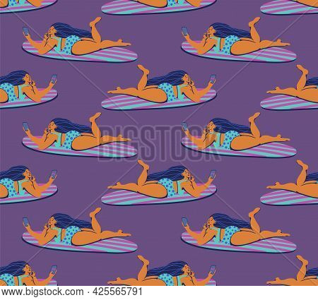 A Hand Drawn Seamless Summer Pattern With Girls Surfing Internet On Surfboards. Textile Surface Desi