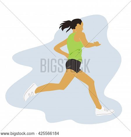 Running Or Jogging Girl Vector Portrait Isolated