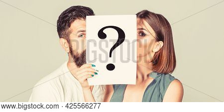 Anonymous, Man And Woman Question, Incognita. Problems And Solutions. Couple In Quarrel. Quarrel Bet