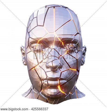 Shattered Polygonal Metal Human Head With Yellow Glowing Cracks
