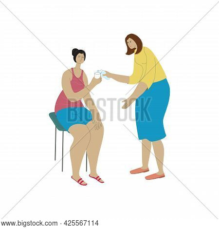 Mutual Help Concept Vector Illustration. Woman Pouring Water To Another Woman. The Women Are Going T