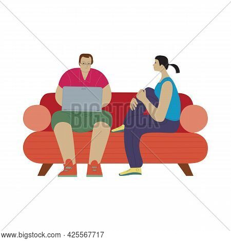 Cartoon People Are Sitting On A Sofa. Man Works On Laptop, Woman Looks In His Direction. Family Coup