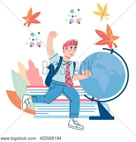 School Boy At Backdrop With Books And Globe. Child Cartoon Character For Education And School Themat