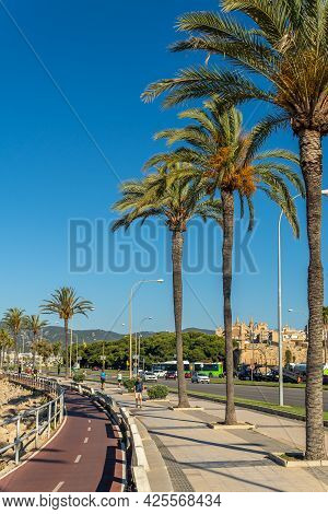 Palma De Mallorca, Spain; June 25 2021: General View Of The Promenade Of Palma De Mallorca At Dawn