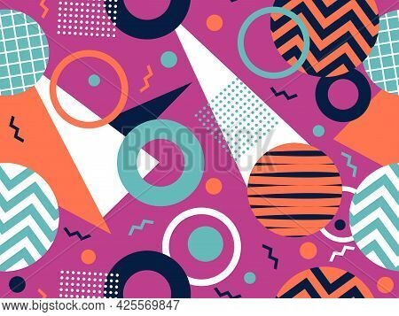80S Geometric Seamless Pattern With Memphis Elements. Trendy Retro Background For Printing On Paper,