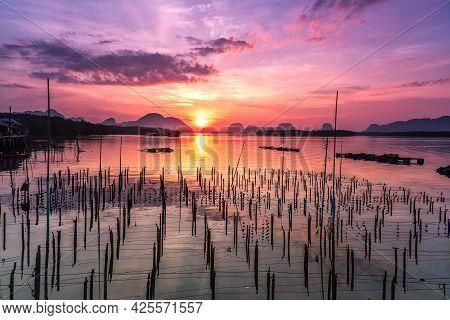 Beautiful Sky In The Morning During Sunrise At Fisherman Village Of Sam-chong-tai, Phang-nga Provinc