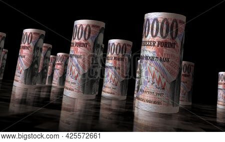 Hungarian Forint Money Banknotes Pack Illustration