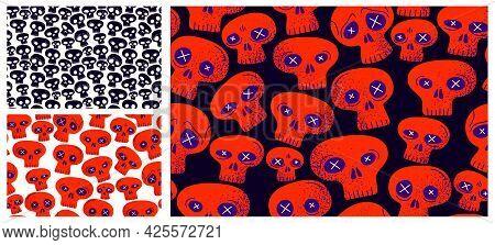 Skulls Seamless Textile Pattern Set, Horror Sculls Endless Wallpaper Background, Cartoon Style, Deat