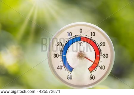 Outdoor thermometer with celsius scale shows hot temperature 40 degree - hot summer weather concept