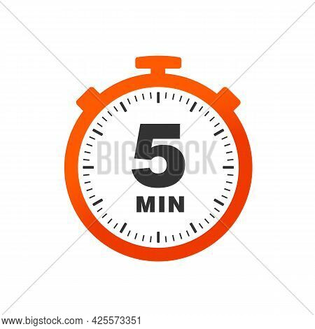 Five Minutes Icon Isolated On White Background. Cooking Time Concept. 5 Minutes Waiting Time Icon. V