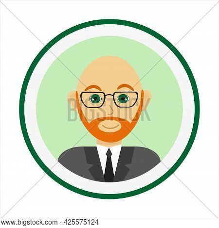 Bold Man Face With Red Beard And Mustache And Wearing Glasses. Male Face. Man Avatar On Green Backgr