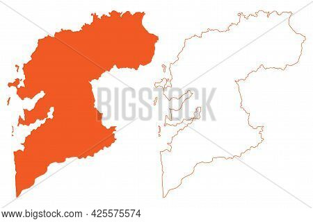 Province Of Pontevedra (kingdom Of Spain, Autonomous Community Of Galicia) Map Vector Illustration,