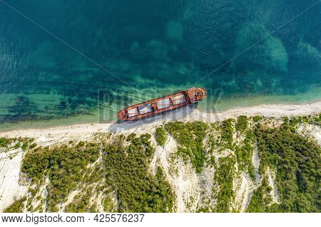 Kabardinka, Russia - June 24, 2021 Dry Cargo Ship Rio On The Shore Left After A Shipwreck.