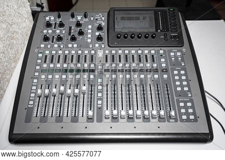 Base Professional Audio Mixing Console. Sound Mixing Board.