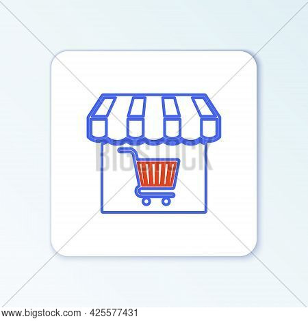 Line Shopping Building Or Market Store With Shopping Cart Icon Isolated On White Background. Shop Co