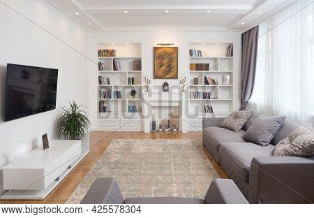 Empty Minimalistic Interior Background, Living Room Of Modern Apartment With Big Windows, Daylight,
