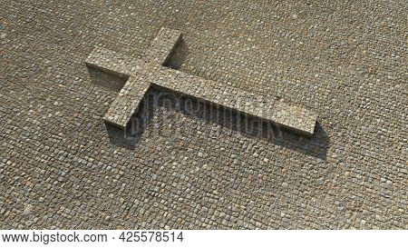 Concept or conceptual cobblestone cross on a stone pavement background. 3d illustration metaphor for God, Christ, Christianity, religious, faith, holy, spiritual, Jesus, belief or resurection