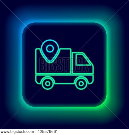 Glowing Neon Line Delivery Tracking Icon Isolated On Black Background. Parcel Tracking. Colorful Out