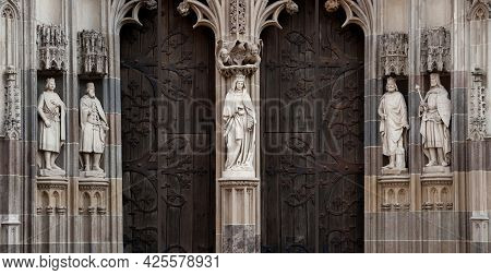 Empty Medieval European Architecture Background With Antique Temple Doors And Blacksmith Forge, Ston