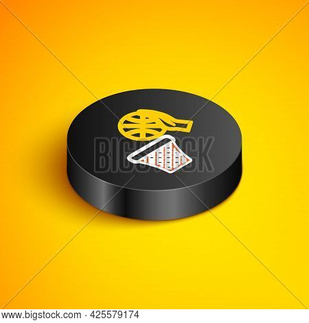 Isometric Line Basketball Ball And Basket Icon Isolated On Yellow Background. Ball In Basketball Hoo