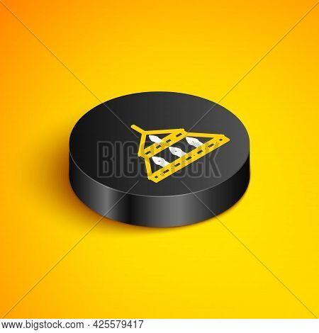 Isometric Line Massive Steel Chandelier With Candles In Medieval Icon Isolated On Yellow Background.