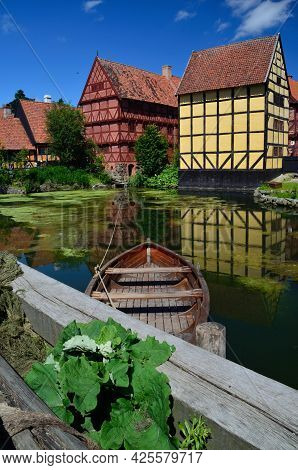 Wooden Paddle Boat On A Lake In Den Gamle By, Aarhus, Denmark