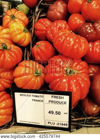 Sicilian Tomatoes In Vegetable Market In France