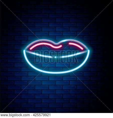 Glowing Neon Line Smiling Lips Icon Isolated On Brick Wall Background. Smile Symbol. Colorful Outlin