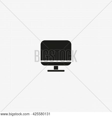 Desktop Computer Icon In Line Design Style. Pc Display Symbol For Web And Mobile Ui Design.