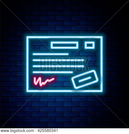 Glowing Neon Line Warranty Certificate Template Icon Isolated On Brick Wall Background. Colorful Out