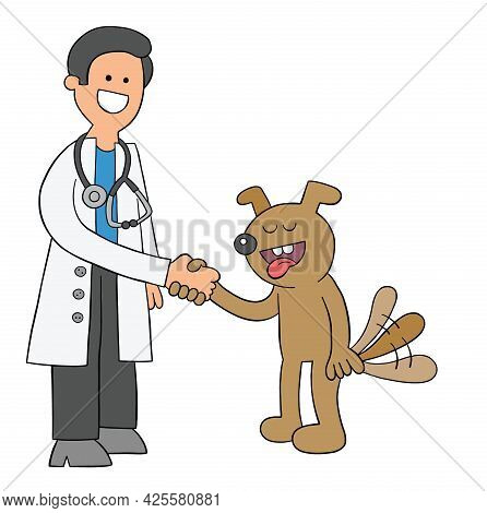 Cartoon Vet And Dog Get Along And Shake Hands, Vector Illustration. Colored And Black Outlines.