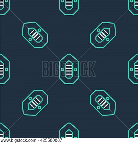 Line Rafting Boat Icon Isolated Seamless Pattern On Black Background. Inflatable Boat. Water Sports,