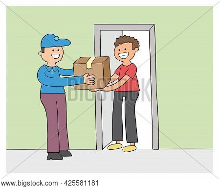 Cartoon Courier Brings The Parcel, The Customer Receives The Parcel, Vector Illustration. Colored An
