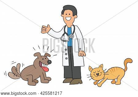 Cartoon The Vet Is With The Cat And Dog And They Are Very Happy, Vector Illustration. Colored And Bl