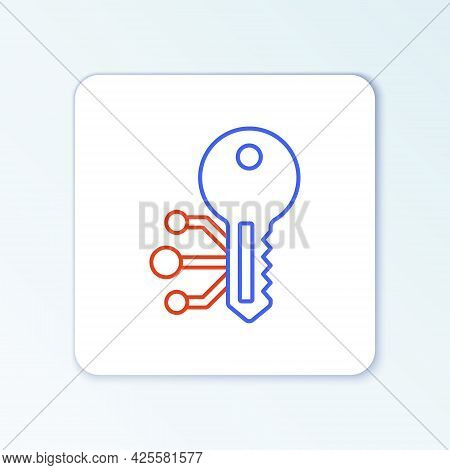 Line Cryptocurrency Key Icon Isolated On White Background. Concept Of Cyber Security Or Private Key,