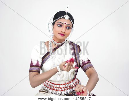 Indian Classical Female Bharathanatyam Dancer