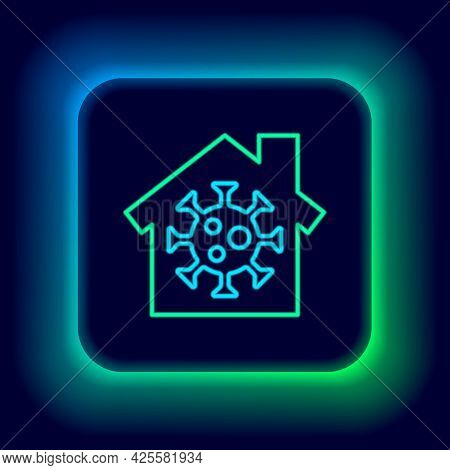 Glowing Neon Line Stay Home Icon Isolated On Black Background. Corona Virus 2019-ncov. Colorful Outl