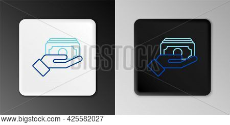 Line Stacks Paper Money Cash In Hand Icon Isolated On Grey Background. Insurance Concept. Money Bank