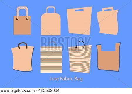 Reusable Jute And Paper Bags Collection. Jute Fabric Bags Vector Illustration. Replacement Plastic B