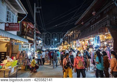 Loei-thailand-23 Oct 2020:unacquainted People Walking On Chiang Khan Walking Street At Loei Thailand