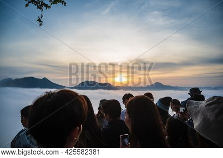 Loei-thailand-24 Oct 2020:unacquainted People Waiting For Sunrise On Phu Thok  At Chiang Khan In The
