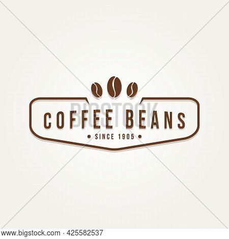 Coffee Beans Badge Vintage Logo Template Vector Illustration Design. Retro Classic Bar, Restaurant,