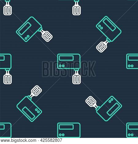 Line Electric Mixer Icon Isolated Seamless Pattern On Black Background. Kitchen Blender. Vector