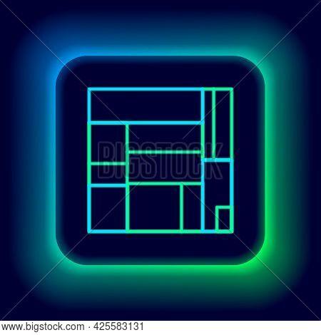 Glowing Neon Line House Edificio Mirador Icon Isolated On Black Background. Mirador Social Housing B