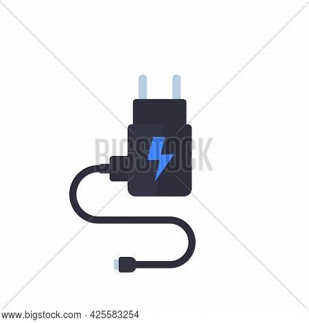 Mobile Charger Isolated On White, Vector Art